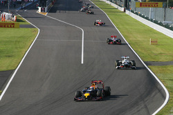 Sebastian Vettel, Red Bull Racing leads the race