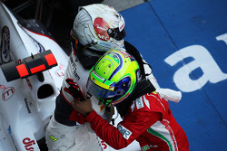 Kamui Kobayashi, Sauber celebrates his third position in parc ferme with second placed Felipe Massa, Ferrari