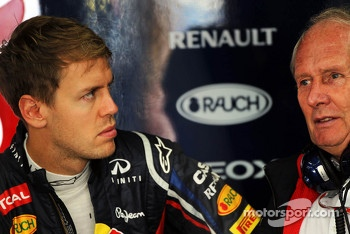 Sebastian Vettel, Red Bull Racing with Dr Helmut Marko, Red Bull Motorsport Consultant