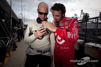 Marino Franchitti and Dario Franchitti watch the historical jump of Felix Baumgartner