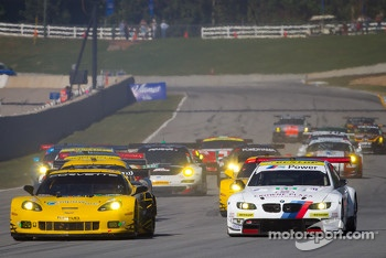 Start: #4 Corvette Racing Chevrolet Corvette C6 ZR1: Oliver Gavin, Tom Milner, Richard Westbrook and #55 BMW Team RLL E92 BMW M3: Bill Auberlen, Jorg Muller, Jonathan Summerton