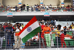 Indian fans and flags