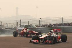 Lewis Hamilton, McLaren leads Felipe Massa, Ferrari