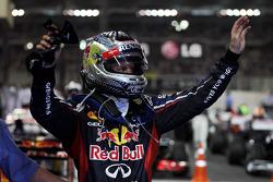 Sebastian Vettel, Red Bull Racing celebrates his third position in parc ferme