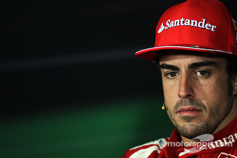Second placed Fernando Alonso, Ferrari in the FIA Press Conference