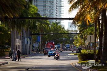 NASCAR haulers parade on Ocean Drive in South Beach