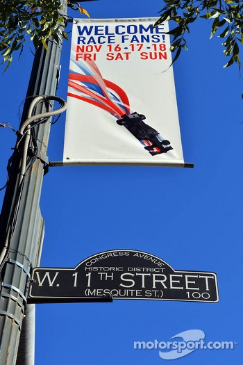 F1 race banner on 11th Street in Austin