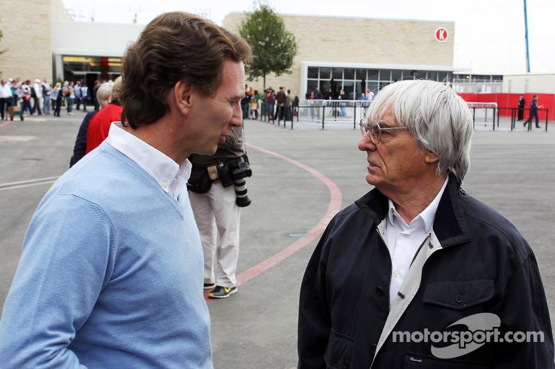 Christian Horner, Red Bull Racing Team Principal with Bernie Ecclestone, CEO Formula One Group