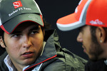 Sergio Perez, Sauber and Lewis Hamilton, McLaren in the FIA Press Conference