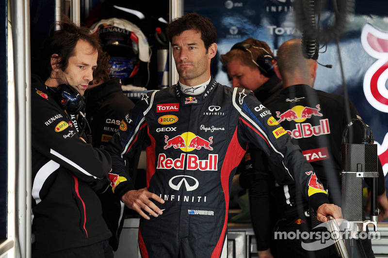 Mark Webber, Red Bull Racing with Ciaron Pilbeam, Red Bull Racing Race Engineer