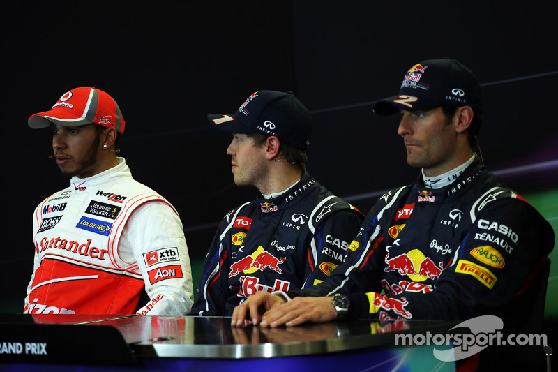 Qualifying FIA Press Conference, Lewis Hamilton, McLaren, second; Sebastian Vettel, Red Bull Racing, pole position; Mark Webber, Red Bull Racing, third