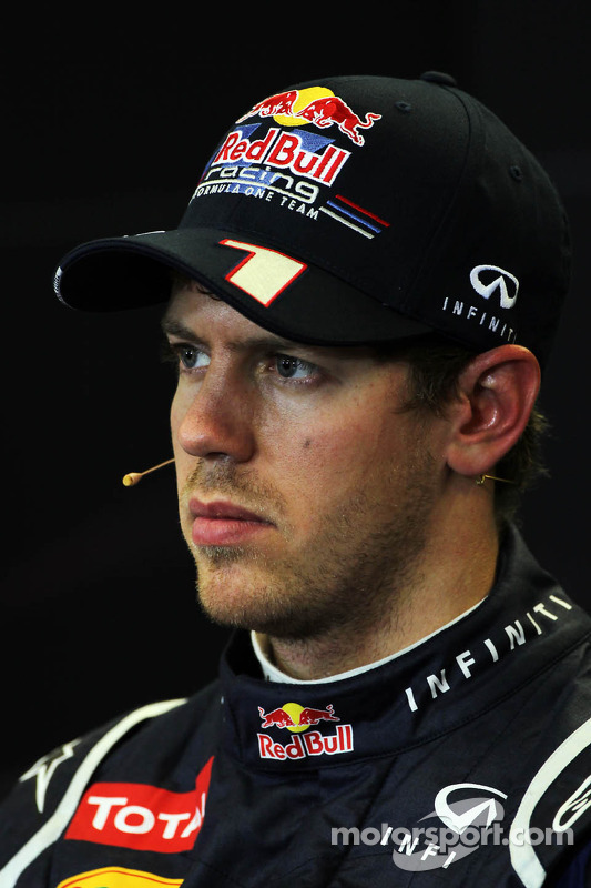 Pole sitter Sebastian Vettel, Red Bull Racing in the FIA Press Conference