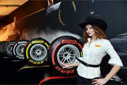 Pirelli girl at the Austin Fan Fest on the Saturday night