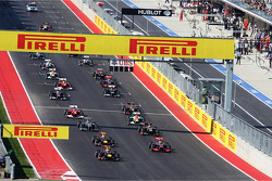 Sebastian Vettel, Red Bull Racing RB8 leads at the start of the race