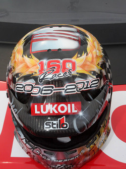 The helmet of Gabriele Tarquini, SEAT Leon WTCC, Lukoil Racing Team for the his last race with Seat