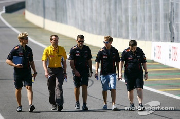 Sebastian Vettel, Red Bull Racing walks the circuit