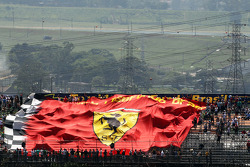 Large Ferrari banner in the grandstand