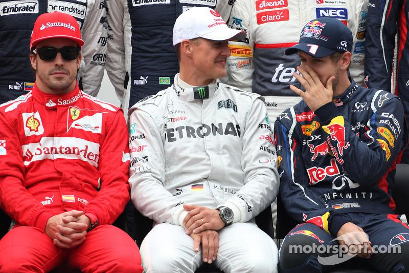 Fernando Alonso, Scuderia Ferrari, Michael Schumacher, Mercedes GP and Sebastian Vettel, Red Bull Racing