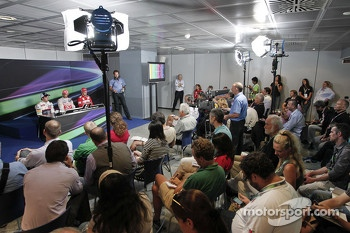 Post race FIA press conference: race winner Lewis Hamilton, second place Sergio Perez, third place Fernando Alonso