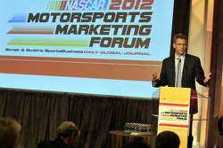 NASCAR CMO Steve Phelps speaks onstage at the NASCAR Motorsports Forum