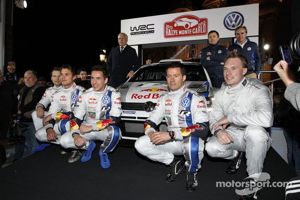 Andreas Mikkelsen, Jari-Matti Latvala, Miikka Anttila, Sbastien Ogier and Julien Ingrassia