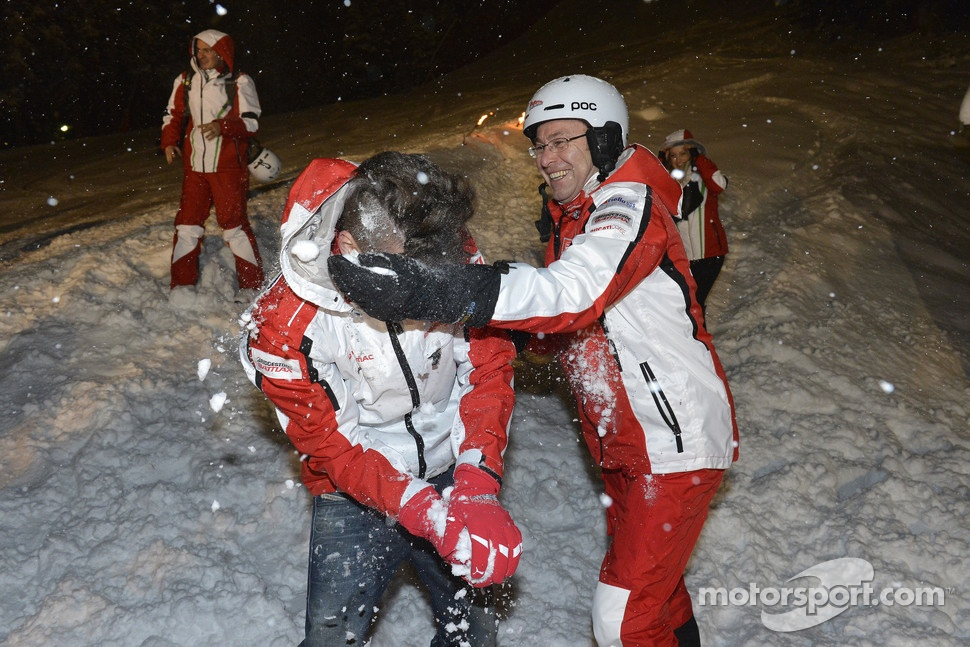 Andrea Iannone, Pramac Racing Team gets a face full of snow