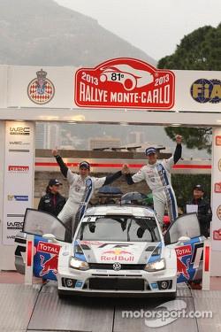 Podium: second place Sébastien Ogier and Julien Ingrassia, Volkswagen Motorsport