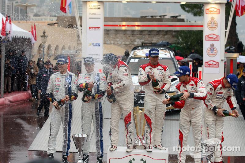 Podium: winners Sébastien Loeb and Daniel Elena, Citroën Total Abu Dhabi World Rally Team, second place Sébastien Ogier and Julien Ingrassia, Volkswagen Motorsport, third place Daniel Sordo and Carlos del Barrio, Citroën Total Abu Dhabi World Rally Team