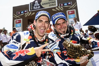 Bike winner Cyril Despres and second place Ruben Faria