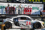 GT podium: class winners Filipe Albuquerque, Oliver Jarvis, Edoardo Mortara, Dion von Moltke, second place Frank Stippler, Marc Basseng, Ian Baas, Ren Rast, third place Max Papis, Jeff Segal, Toni Vilander, Giancarlo Fisichella