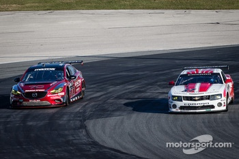 #70 Mazdaspeed Speedsource Mazda6 GX: Jonathan Bomarito, Marino Franchitti, James Hinchcliffe, Sylvain Tremblay, #57 Stevenson Motorsports Camaro GT.R: John Edwards, Robin Liddell, Jan Magnussen, Tom Milner