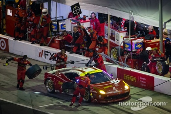 Pit stop for #61 R.Ferri/AIM Motorsport Racing with Ferrari Ferrari 458: Max Papis, Jeff Segal, Toni Vilander, Giancarlo Fisichella