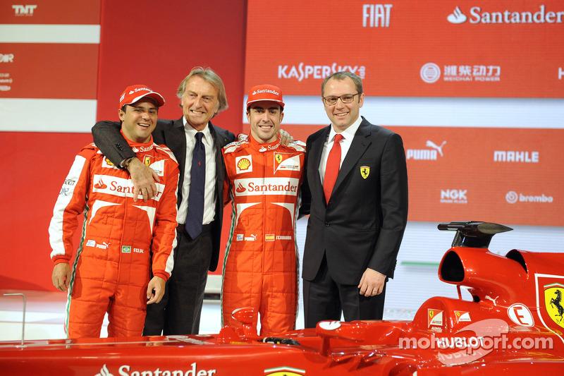 Felipe Massa, Luca di Montezemolo, Fernando Alonso and Stefano Domenicali