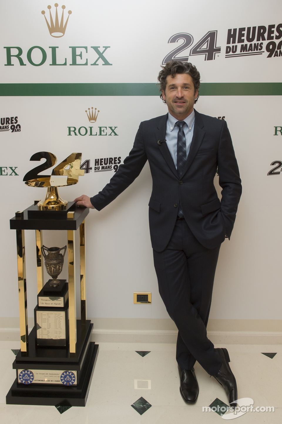 Patrick Dempsey with the 24 Hours of Le Mans trophy
