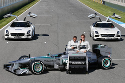 Lewis Hamilton, Mercedes AMG F1 and team mate Nico Rosberg, Mercedes AMG F1 with the new Mercedes AMG F1 W04 and promote new Blackberry sponsorship for the team
