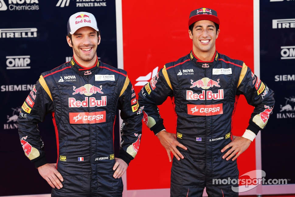 Jean-Eric Vergne, Scuderia Toro Rosso and team mate Daniel Ricciardo, Scuderia Toro Rosso