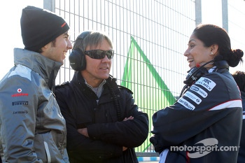 Sergio Perez, McLaren with Adrian Fernandez, and Monisha Kaltenborn, Sauber Team Principal