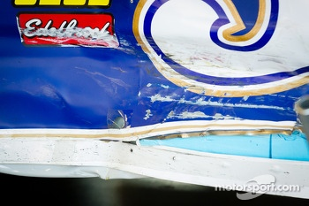 Damage on the Michael Waltrip Racing Toyota