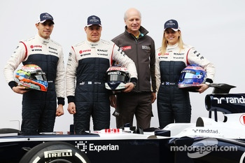 Pastor Maldonado, Williams F1, Valtteri Bottas, Williams F1 Jean-Michel Jalinier, Renault President and Susie Wolff, Williams F1 development driver unveil the FW36
