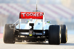 Sergio Perez, McLaren MP4-28 running sensor equipment on the rear wing