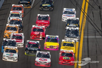 Alex Bowman, Joe Nemechek and Tony Stewart battle