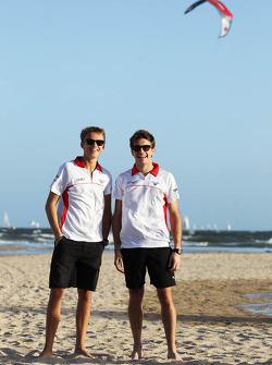 Max Chilton, Marussia F1 Team with team mate Jules Bianchi, Marussia F1 Team on the beach