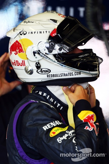 Sebastian Vettel, Red Bull Racing with Red Bull Stratos themed helmet