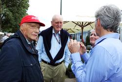 Niki Lauda, Mercedes Non-Executive Chairman with Ron Walker, Chairman of the Australian GP Corporation; Johnny Herbert ; and Damon Hill, Sky Sports Presenter