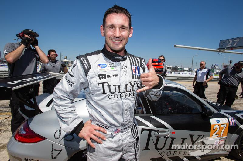 GTC pole winner Andy Lally celebrates