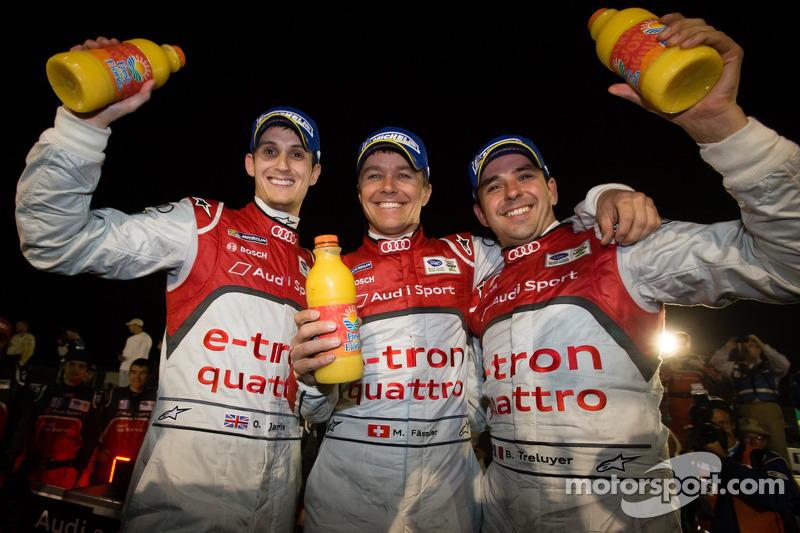 Race winners Oliver Jarvis, Marcel Fässler, Benoit Tréluyer celebrate