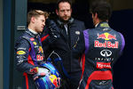 (L to R): pole sitter Sebastian Vettel, Red Bull Racing with Matteo Bonciani, FIA Media Delegate and team mate Mark Webber, Red Bull Racing