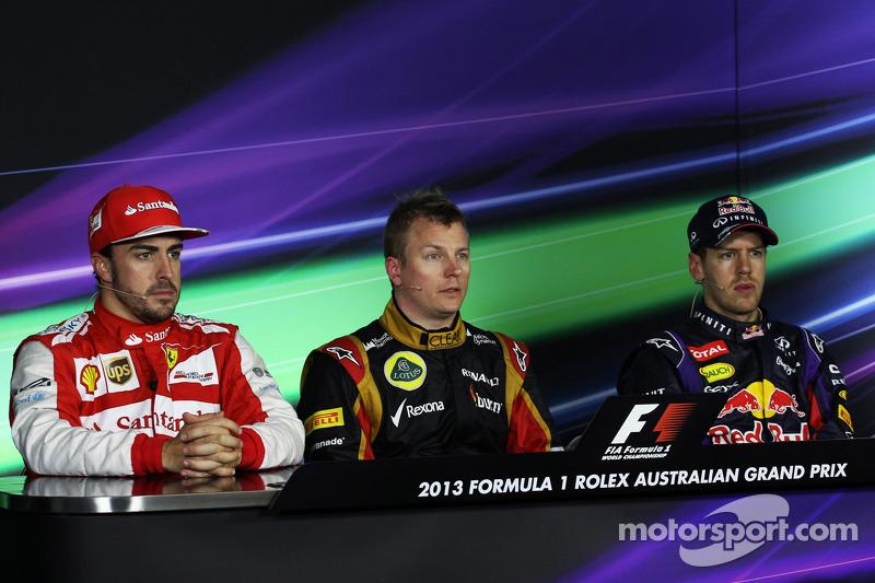 The FIA Press Conference, Ferrari, second; Kimi Raikkonen, Lotus F1 Team, race winner; Sebastian Vettel, Red Bull Racing, third