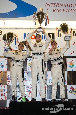 GTC podium: class winners Cooper MacNeil, Jeroen Bleekemolen, Dion von Moltke