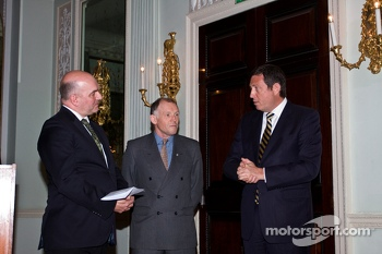 Jeff Carter WEC Media Delegate talks to Ben Cussons (Chairman of the Royal Automobile Club Motoring Committee) and Gerard Neveu (CEO World Endurance Championship)